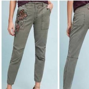 Anthropologie embroidered wanderer pants